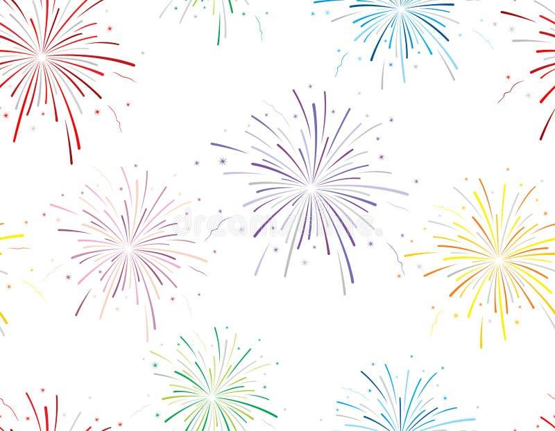 Illustrazione di vettore dei fuochi d'artificio su fondo bianco fotografie stock libere da diritti