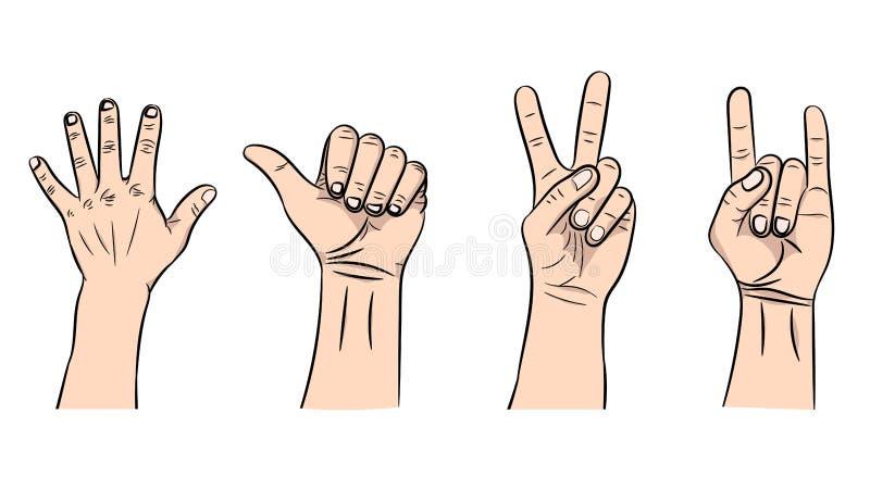 Illustrazione di vettore dei gesti isolati a mano illustrazione vettoriale