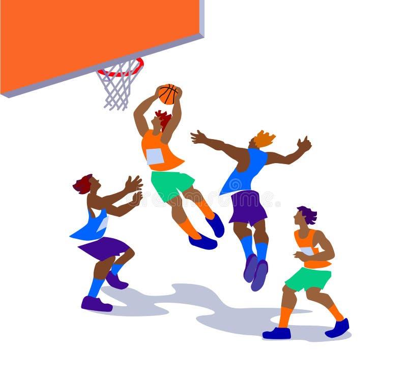 Illustrazione di vettore dei giocatori di pallacanestro nell'azione immagine stock libera da diritti
