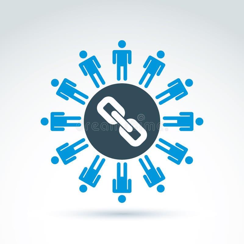 Illustrazione di vettore dei legami sociali Siluette del supporto della gente illustrazione vettoriale