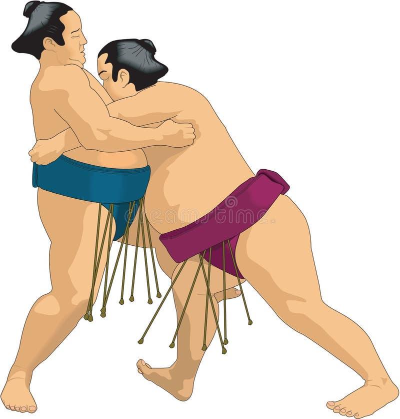 Illustrazione di vettore dei lottatori di sumo royalty illustrazione gratis