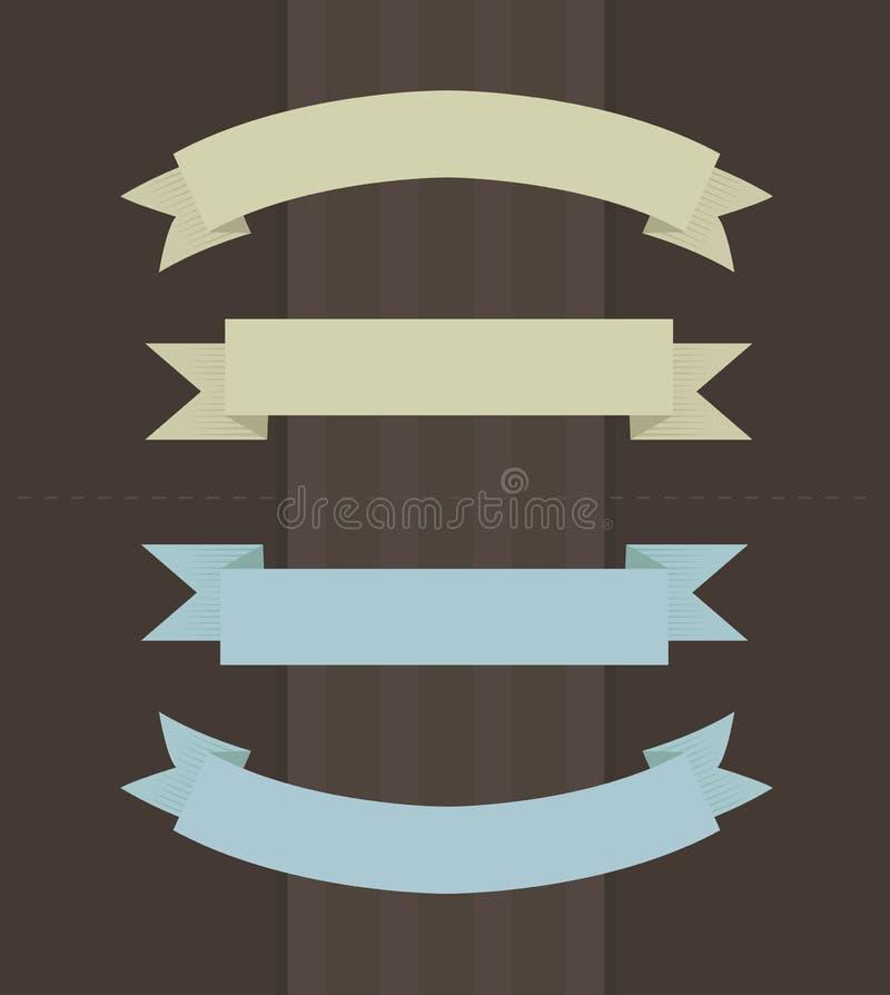 Illustrazione di vettore dei nastri nei colori d'annata illustrazione vettoriale