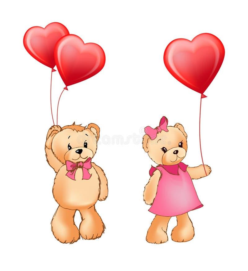 Illustrazione di vettore dei palloni e di Teddy Bear Couple illustrazione di stock