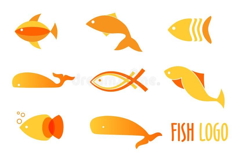 Illustrazione di vettore dei pesci dorati di colori caldi Logos astratto del pesce messo per il ristorante dei frutti di mare o i illustrazione di stock