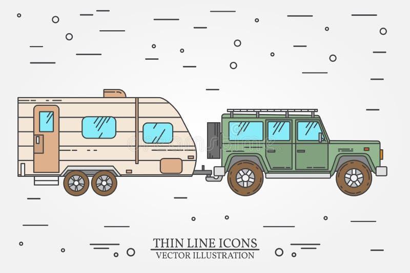 Illustrazione di vettore dei rimorchi di viaggio e dell'automobile Concetto di viaggio della famiglia di viaggio di estate Linea  royalty illustrazione gratis