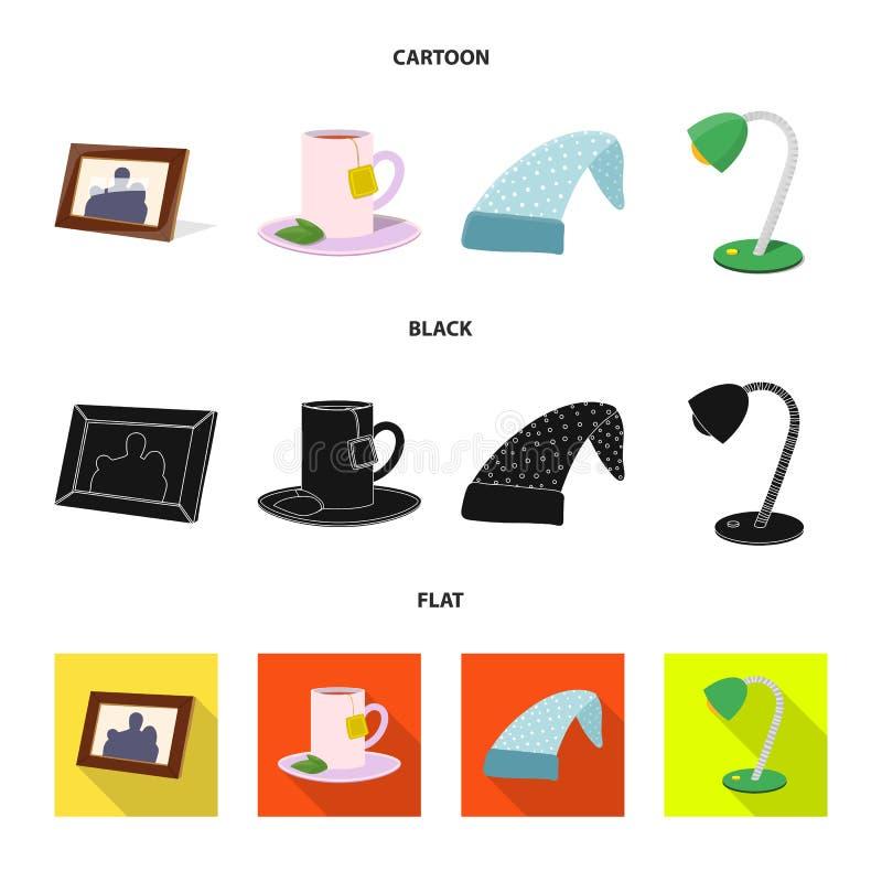 Illustrazione di vettore dei sogni e dell'icona di notte Insieme dei sogni e del simbolo di riserva della camera da letto per il  royalty illustrazione gratis