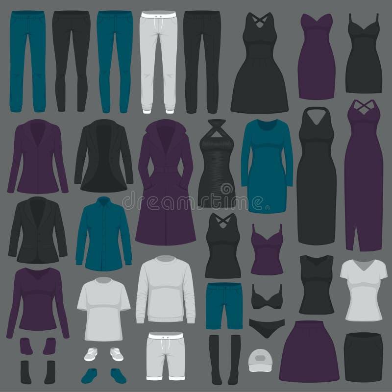 Illustrazione di vettore dei vestiti di modo delle donne dell'insieme royalty illustrazione gratis