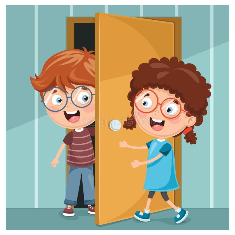 Illustrazione di vettore del bambino che apre la porta illustrazione vettoriale