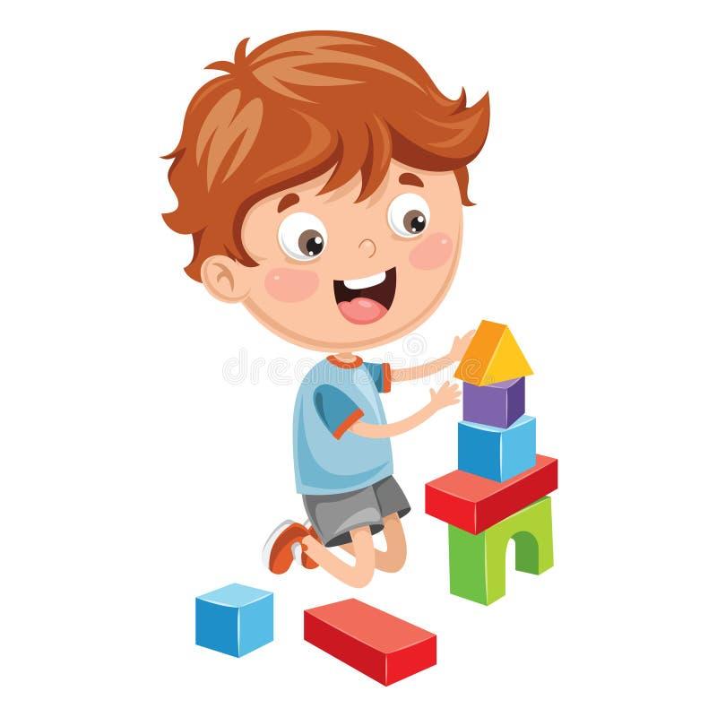 Illustrazione di vettore del bambino che gioca con le particelle elementari illustrazione vettoriale