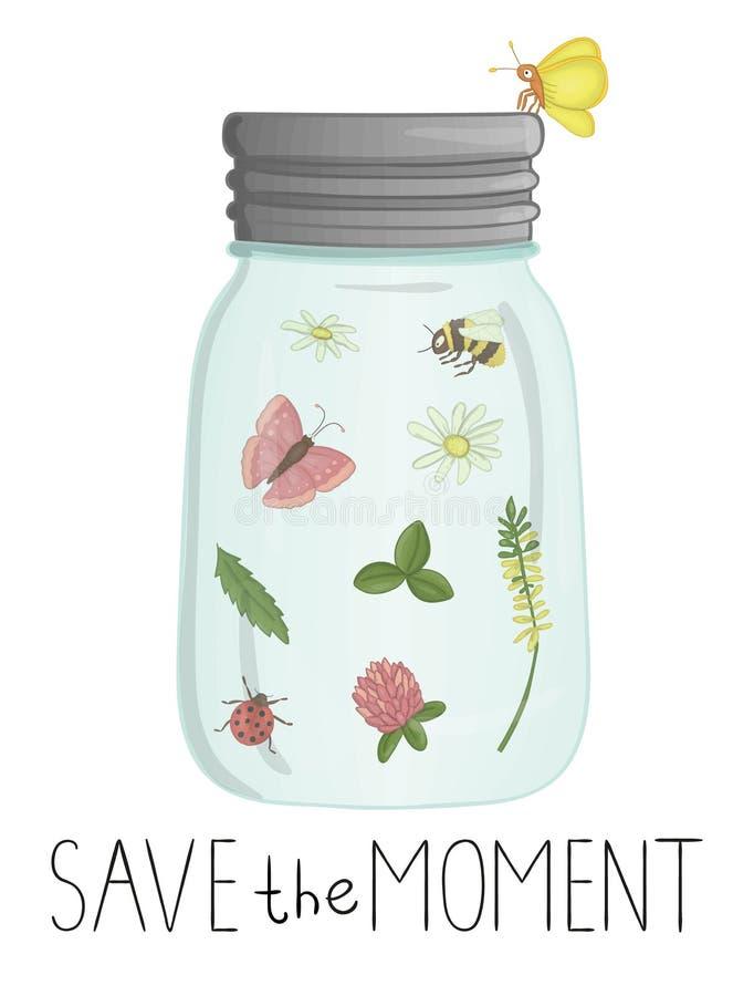 Illustrazione di vettore del barattolo di vetro con gli insetti ed i fiori dentro royalty illustrazione gratis