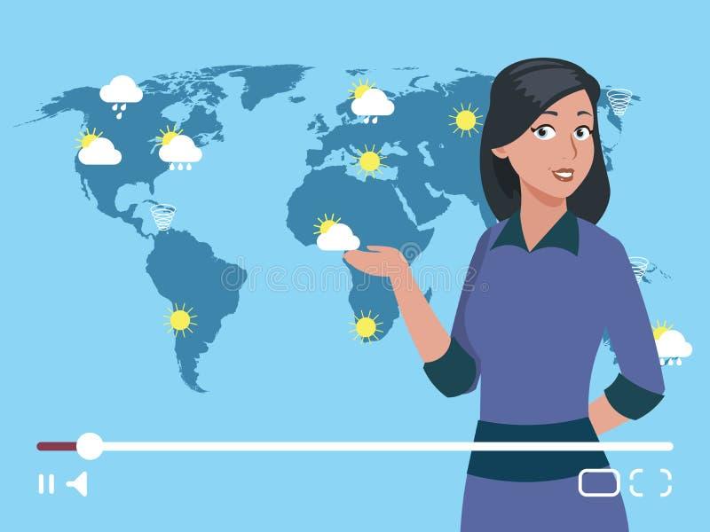 Illustrazione di vettore del canale di tempo dell'anchorman della donna Concetto mondiale di previsioni del tempo royalty illustrazione gratis