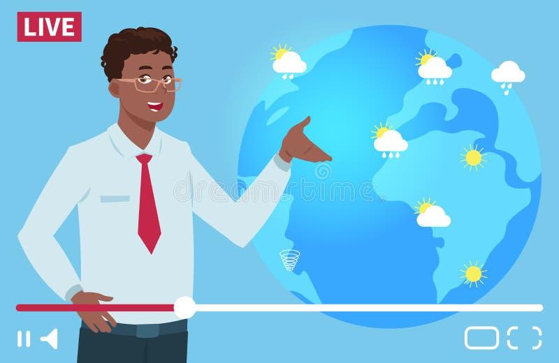 Illustrazione di vettore del canale del wheather dell'anchorman dell'uomo Concetto mondiale di previsioni del tempo royalty illustrazione gratis