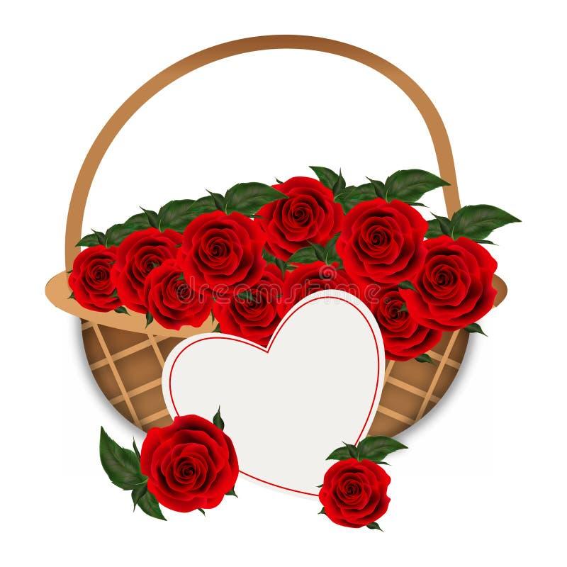 Illustrazione di vettore del canestro del fiore in pieno dei fiori rosa illustrazione di stock