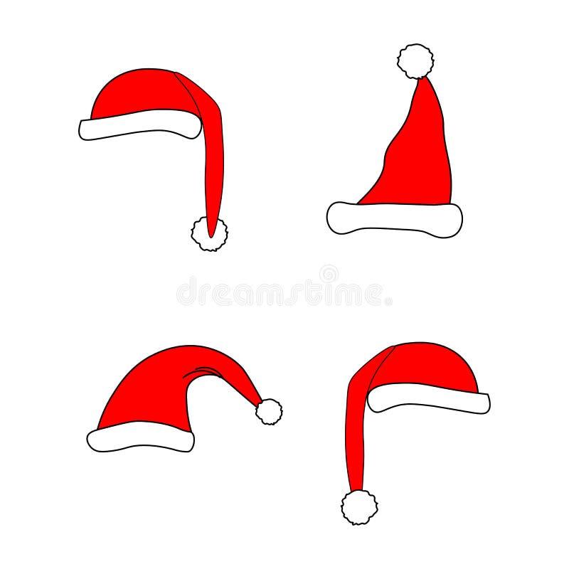 Illustrazione di vettore del cappello di natale di Santa illustrazione di stock