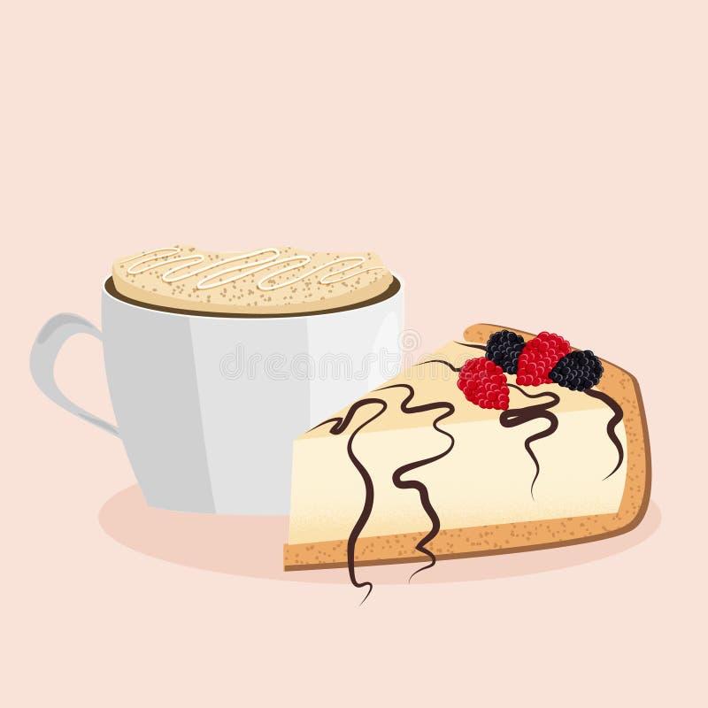 Illustrazione di vettore del cappuccino e della torta di formaggio fotografia stock libera da diritti