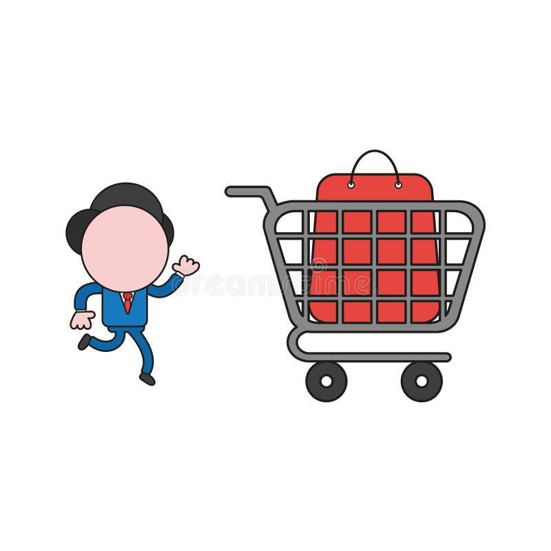 Illustrazione di vettore del carattere dell'uomo d'affari che corre al sacchetto della spesa dentro il carrello Colore e profili  illustrazione di stock