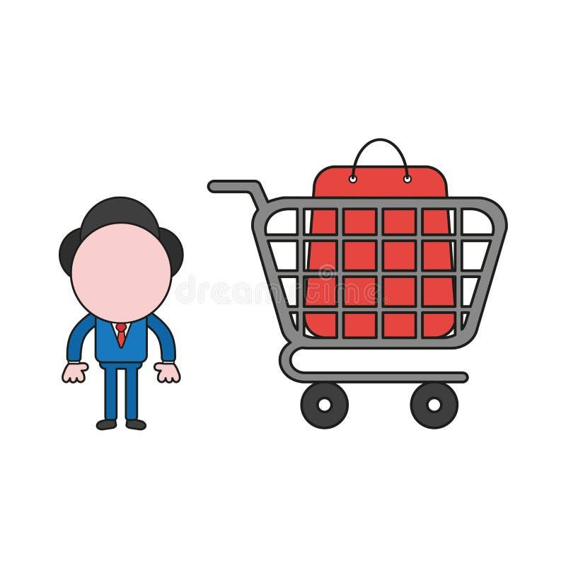 Illustrazione di vettore del carattere dell'uomo d'affari con il sacchetto della spesa dentro il carrello Colore e profili neri illustrazione di stock