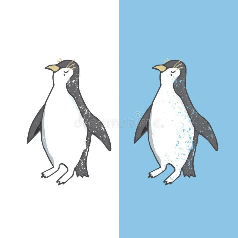 Illustrazione di vettore del carattere del pinguino che estrae il pe bianco e nero divertente di colore di vita di mare degli ucc royalty illustrazione gratis
