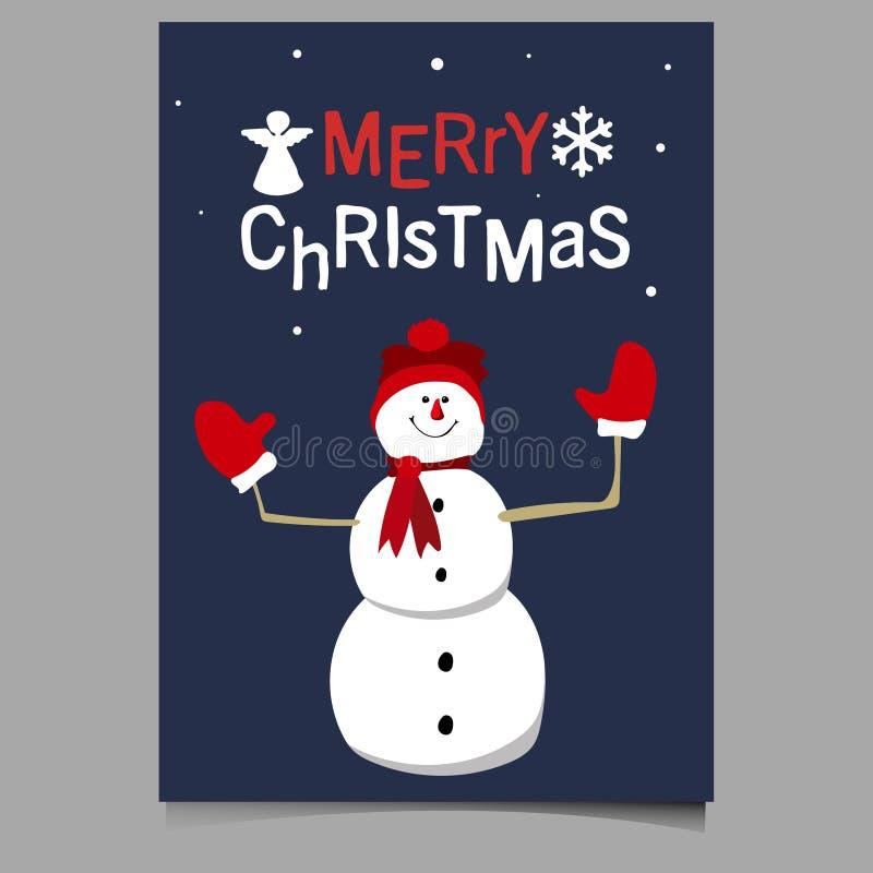 Illustrazione di vettore del carattere del pupazzo di neve di Buon Natale sveglia immagine stock libera da diritti