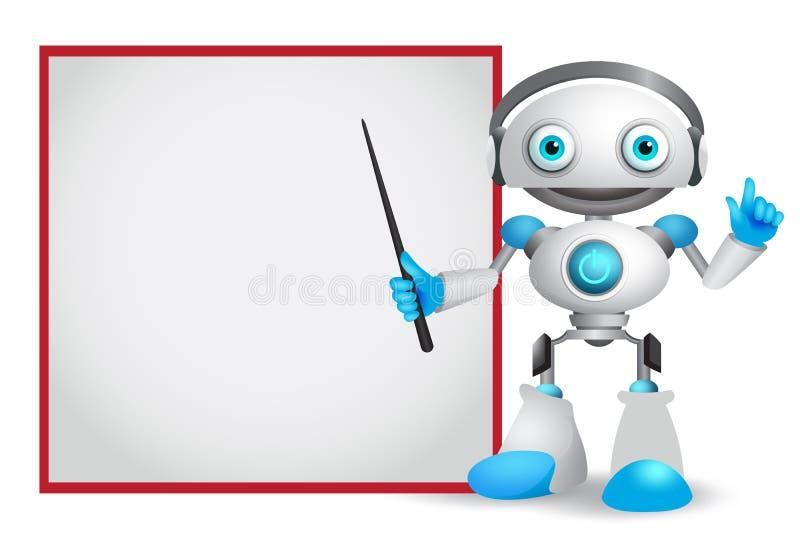 Illustrazione di vettore del carattere del robot con il gesto amichevole che insegna o che mostra alla tecnologia royalty illustrazione gratis