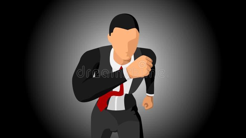 Illustrazione di vettore del carattere di un funzionamento dell'uomo d'affari, affrontante la parte anteriore Con un fondo scuro  illustrazione vettoriale