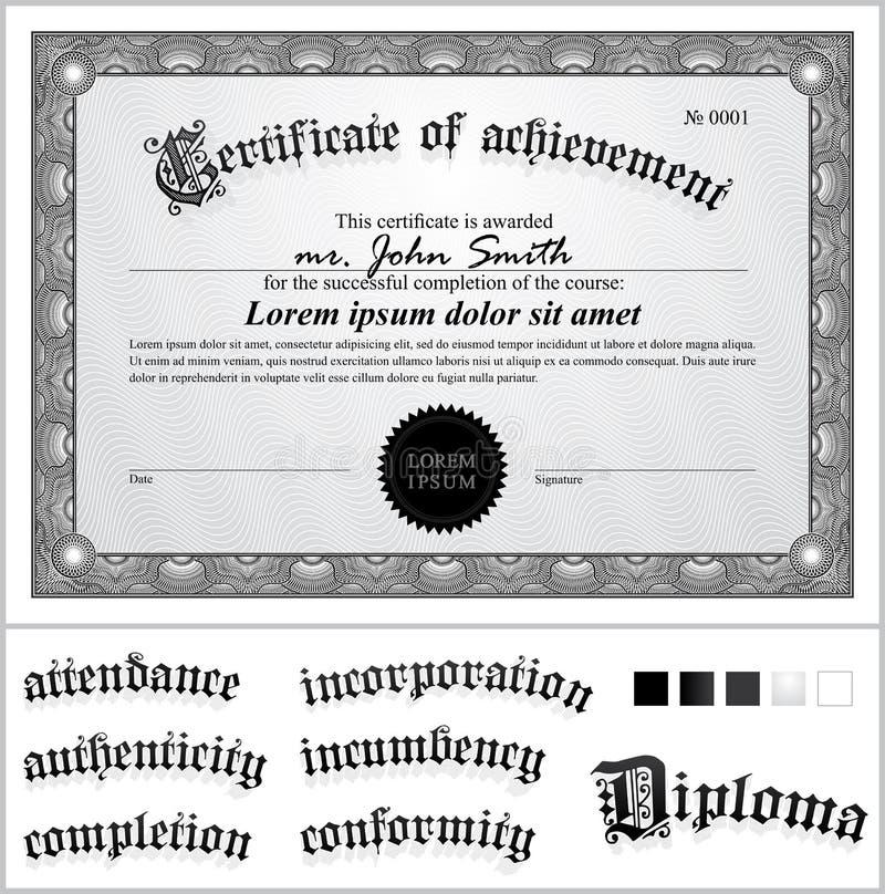Illustrazione di vettore del certificato in bianco e nero royalty illustrazione gratis