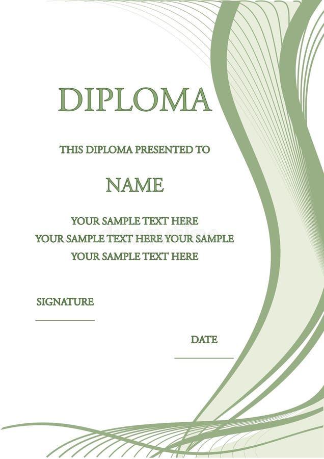 Illustrazione di vettore del certificato del diploma immagine stock libera da diritti