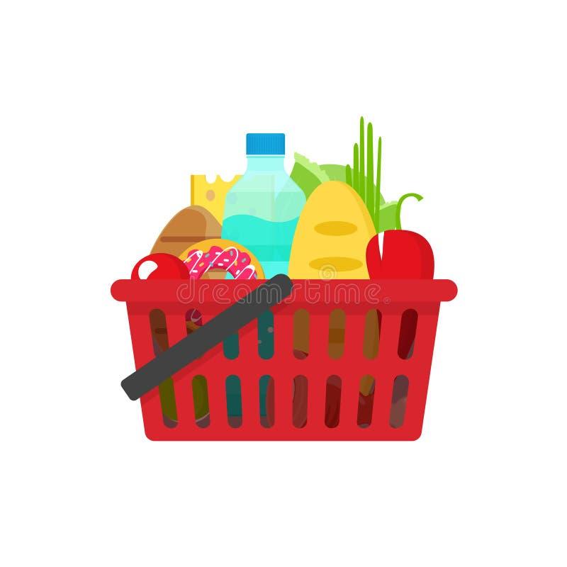 Illustrazione di vettore del cestino della spesa della drogheria, piena dei prodotti sani delle drogherie illustrazione vettoriale
