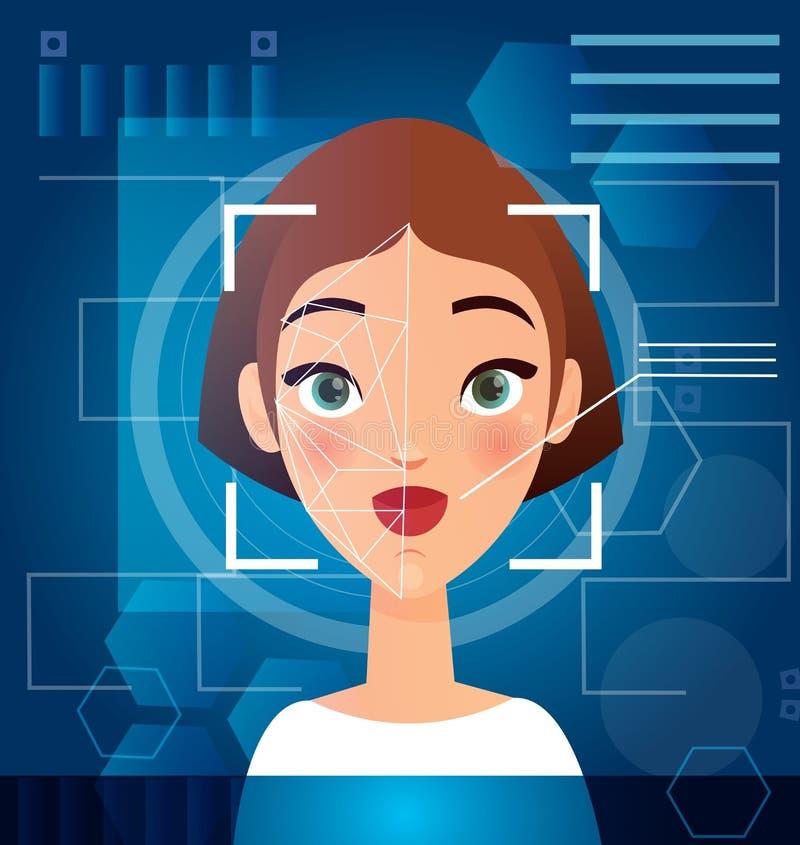 Illustrazione di vettore del concetto di riconoscimento di fronte della donna s Esame biometrico del fronte, sicurezza futuristic royalty illustrazione gratis