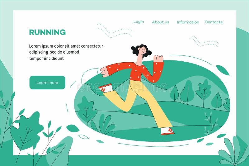 Illustrazione di vettore del concetto sano e sportivo di stile di vita con la donna che corre all'aperto illustrazione vettoriale