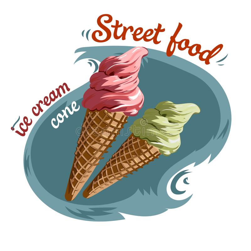Illustrazione di vettore del cono gelato dell'alimento della via fotografia stock