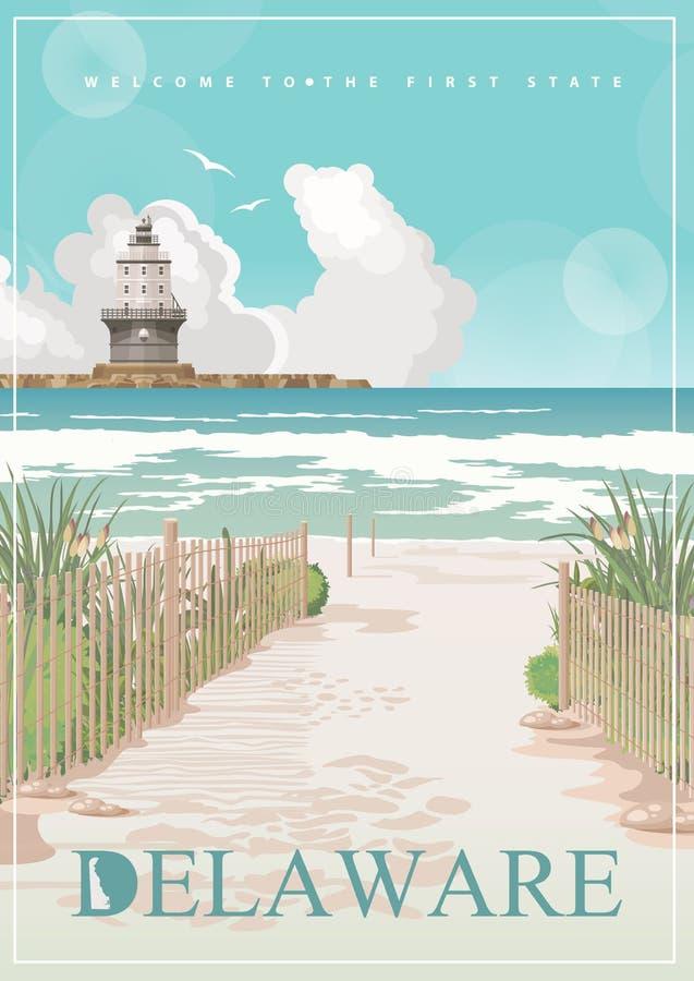 Illustrazione di vettore del Delaware con i paesaggi dettagliati variopinti e l'oceano nella progettazione piana moderna illustrazione di stock