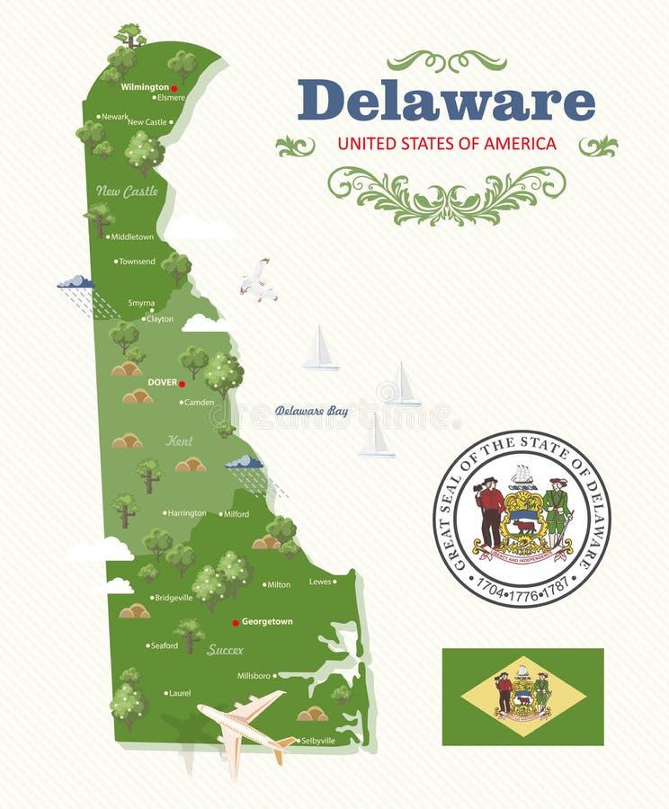 Illustrazione di vettore del Delaware con la mappa e paesaggi dettagliati variopinti nella progettazione piana moderna illustrazione vettoriale