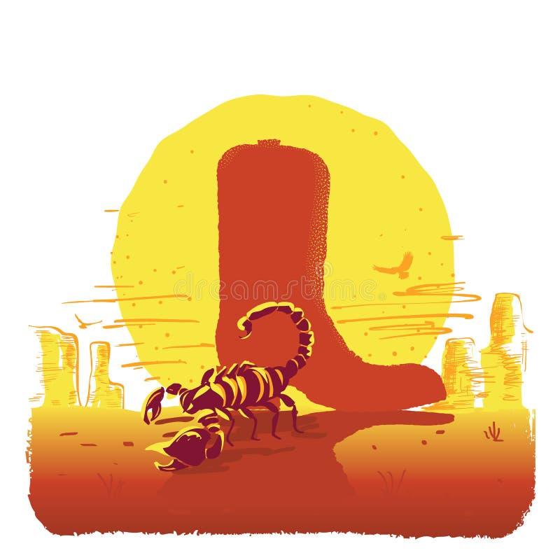 Illustrazione di vettore del deserto del Texas dell'americano con lo stivale e lo scorpione di cowboy islated su bianco illustrazione di stock