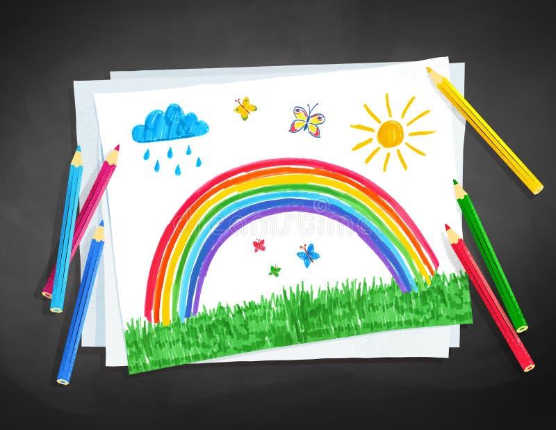 Illustrazione di vettore del disegno del bambino dell'arcobaleno royalty illustrazione gratis