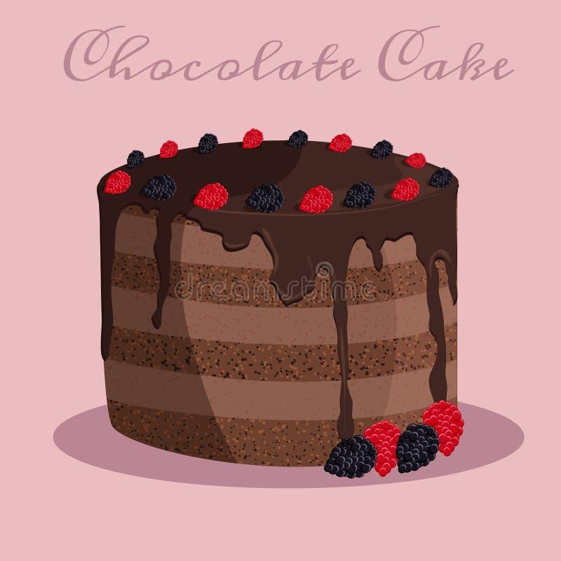 Illustrazione di vettore del dolce di cioccolato fotografia stock
