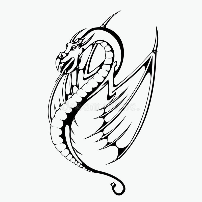 Illustrazione di vettore del drago per progettazione del tatuaggio royalty illustrazione gratis