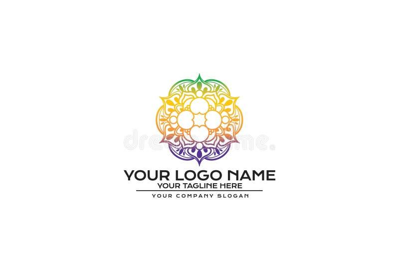 Illustrazione di vettore del fiore Mandala Logo Design illustrazione di stock