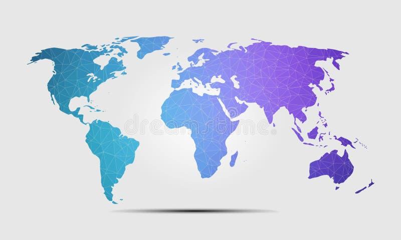 Illustrazione di vettore del fondo del poligono della mappa di mondo di alta qualità illustrazione di stock
