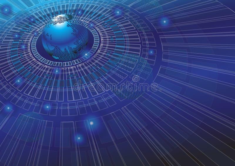 Illustrazione di vettore del fondo di concetto di tecnologia del mondo royalty illustrazione gratis
