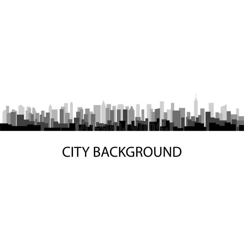 Illustrazione di vettore del fondo grigio della città di panorama royalty illustrazione gratis