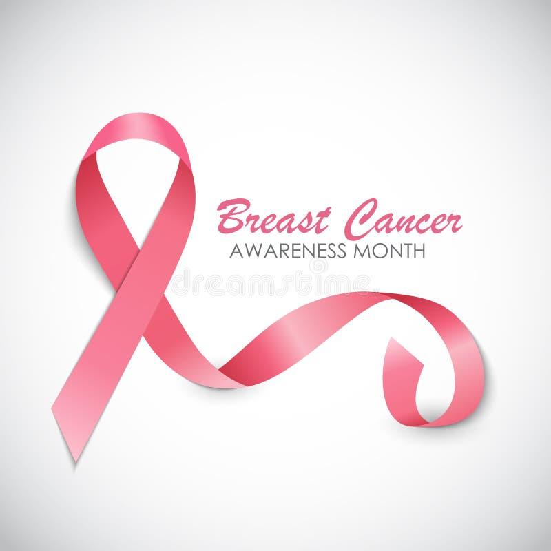 Illustrazione di vettore del fondo del nastro di rosa di mese di consapevolezza del cancro al seno royalty illustrazione gratis