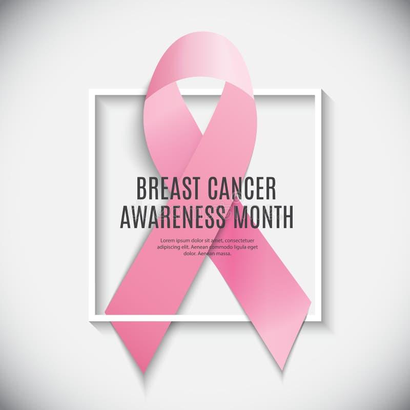 Illustrazione di vettore del fondo del nastro di rosa di mese di consapevolezza del cancro al seno illustrazione di stock