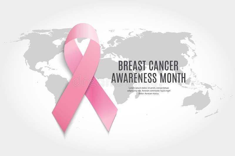 Illustrazione di vettore del fondo del nastro di rosa di mese di consapevolezza del cancro al seno illustrazione vettoriale
