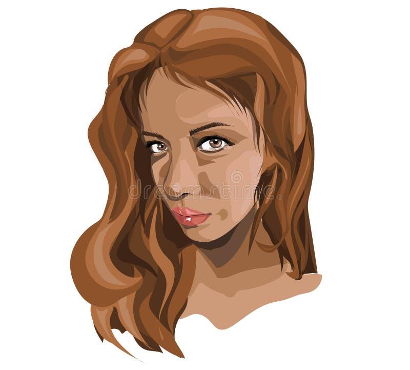 Illustrazione di vettore del fronte di giovane ragazza castana della donna con colore marrone dei capelli e gli occhi marroni royalty illustrazione gratis