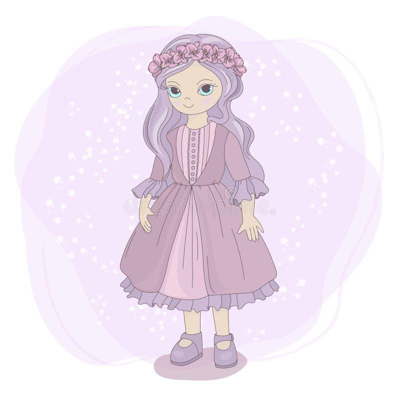 Illustrazione di vettore del fumetto dei bambini di fiaba della RAGAZZA della PRIMAVERA royalty illustrazione gratis