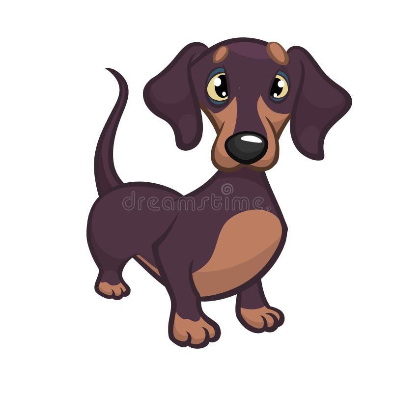 Illustrazione di vettore del fumetto del cane di razza sveglio del bassotto tedesco illustrazione vettoriale