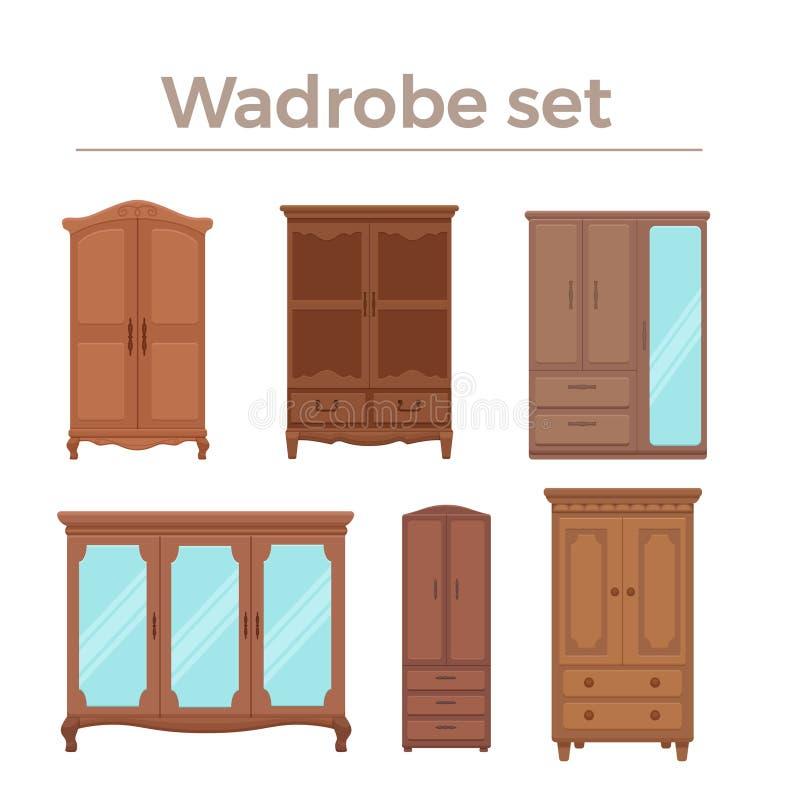 Illustrazione di vettore del fumetto della mobilia Lo stile piano del guardaroba di legno ha isolato le icone messe illustrazione di stock