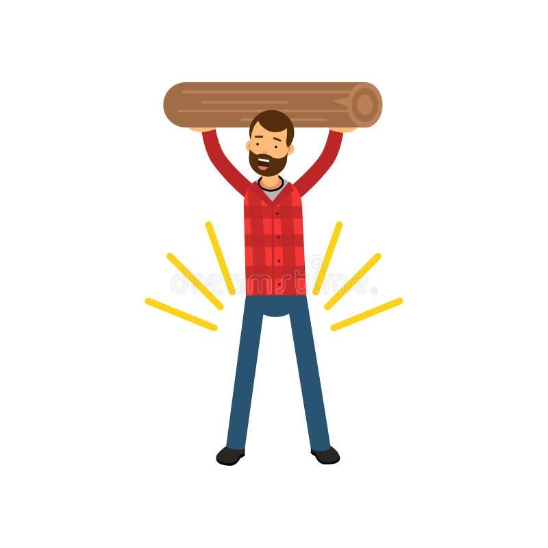 Illustrazione di vettore del fumetto di forte uomo barbuto in camicia di plaid che tiene ceppo di legno sopra la sua testa illustrazione di stock