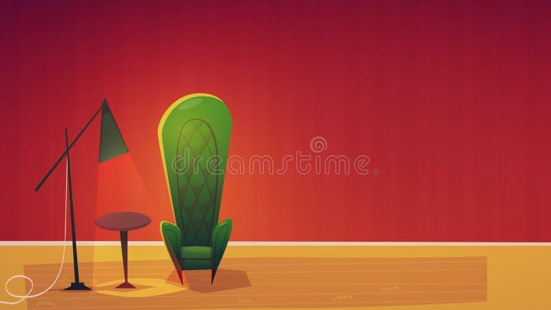 Illustrazione di vettore del fumetto di interior design del salone illustrazione di stock
